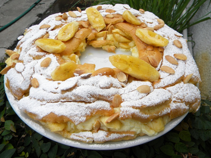Paris Brest...stuffed with bananas ,mascarpone cheese and whipped cream....