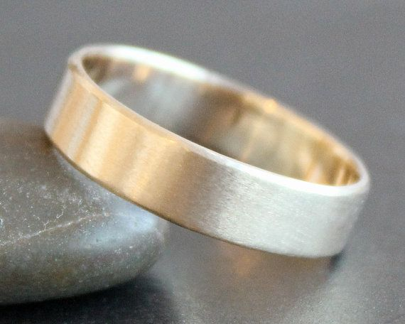 10K Solid Gold Ring - 5mm Rectangle Band - Simple UNISEX Wedding Ring -Recycled…