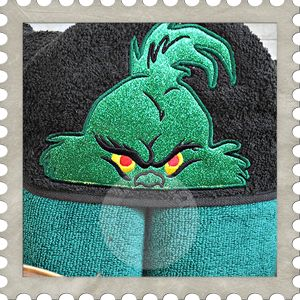 The Mean One hooded towel design. #Embroidery #Applique
