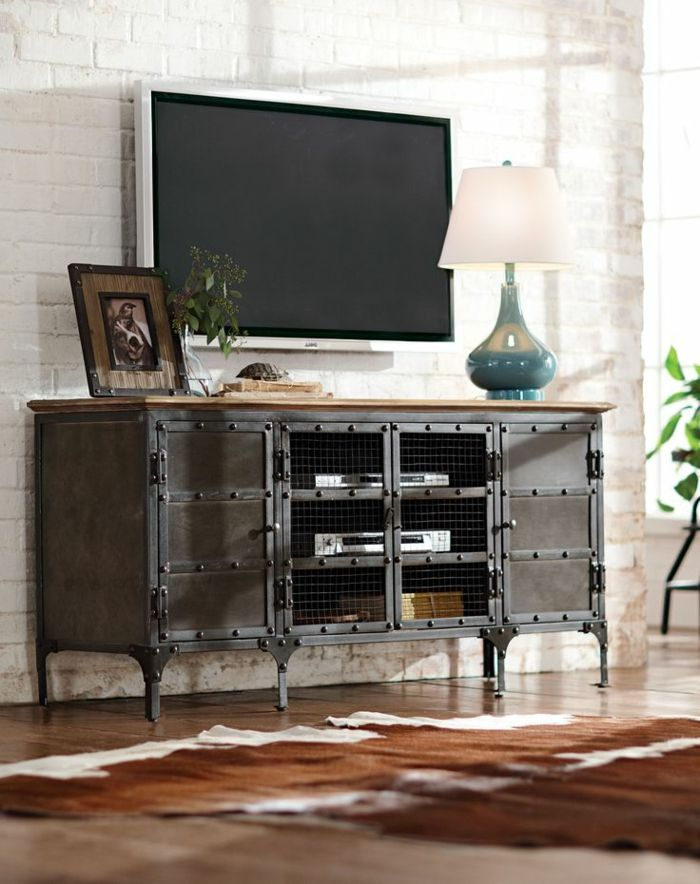 best 25 meuble tv style industriel ideas on pinterest. Black Bedroom Furniture Sets. Home Design Ideas