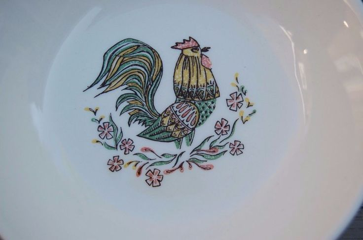Rooster Coupe Cereal Bowl 5 7/8 inch diam Taylor Smith & Taylor TS&T 1950s VTG #TaylorSmithandTaylor