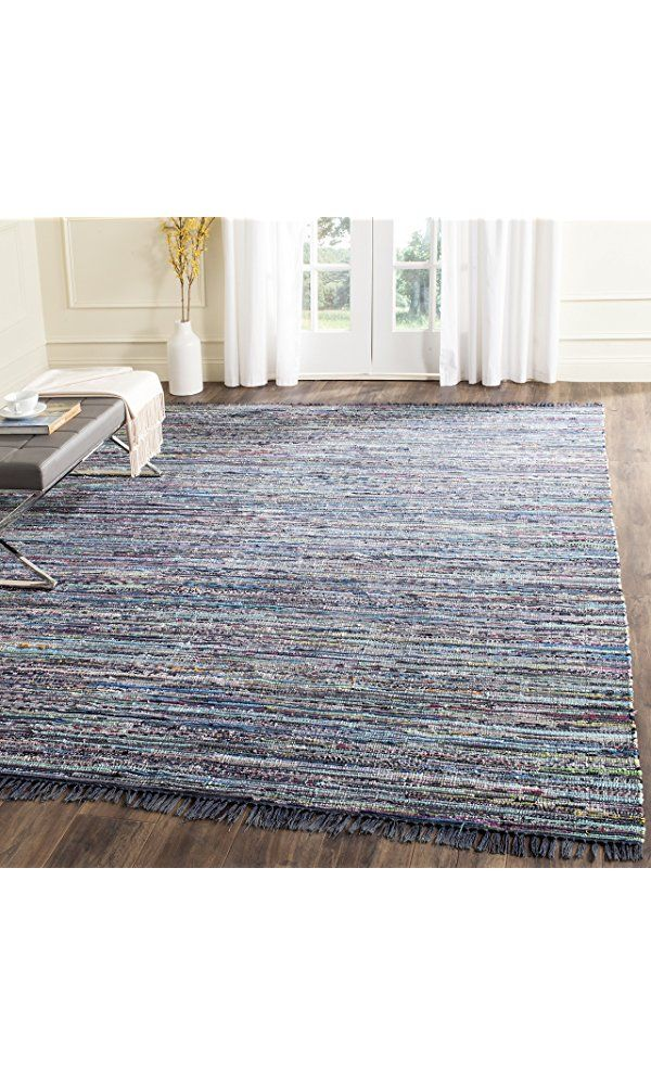 Safavieh Rag Rug Collection RAR121C Hand Woven Ink and Multi Cotton Area Rug (8' x 10') Best Price