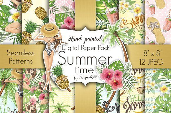 Summer Time Digital Paper Pack by Tanya Kart on @creativemarket