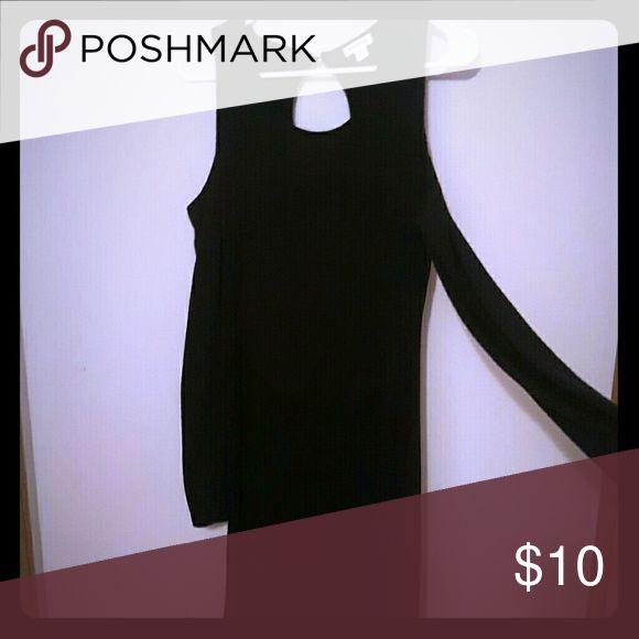Black cold shoulder form fitting dress Long, black cold shoulder dress, sweater type material Xhilaration Dresses