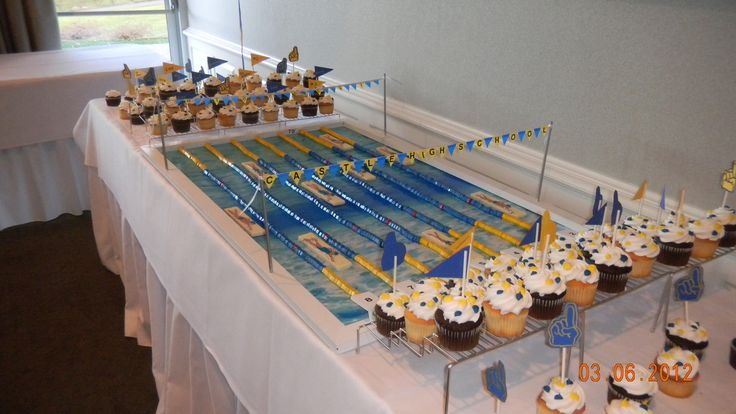 Competition Swimming Pool Cupcake Display- Made for a high school swim team banquet