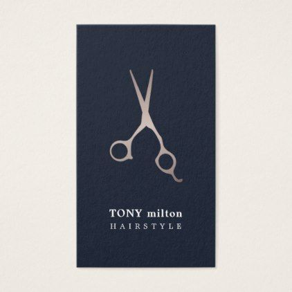 Minimal Dark Blue Faux Metal Scissors hair Business Card - minimal gifts style template diy unique personalize design