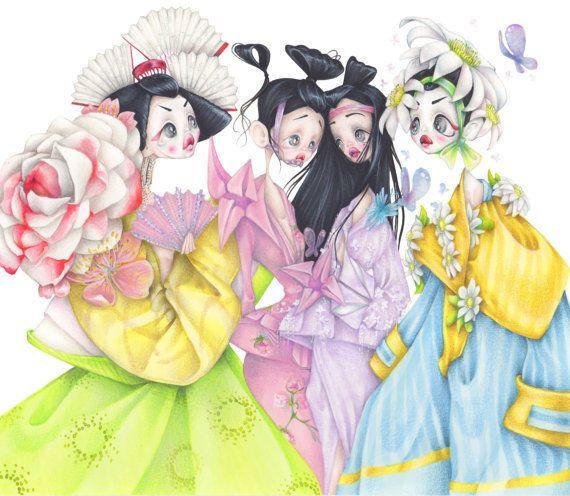 Dior pop surrealism Geisha fashion illustration art print