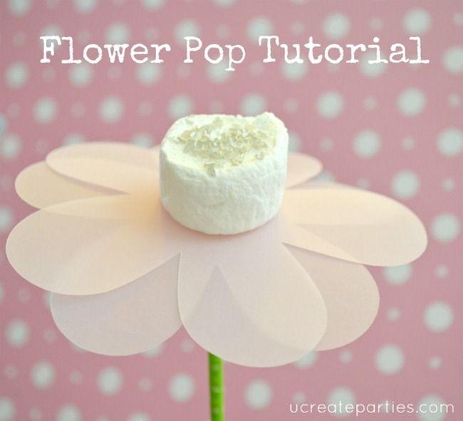 diy flower popDessert Tables, 1St Birthday Parties, Marshmallow Pops, Flower Pop, Parties Ideas, Princesses Parties, Diy Flower, Marshmallows Pop, Desserts Tables