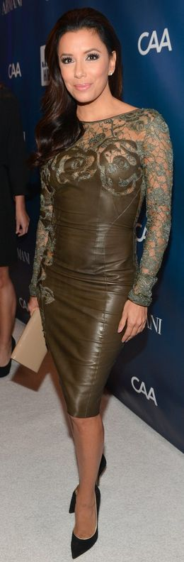 Who made Eva Longoria's brown lace dress and black pumps that she wore in Los Angeles on January 12, 2013?