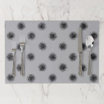 Black on Grey Sketchy Dots Paper Placemat - pattern sample design template diy cyo customize