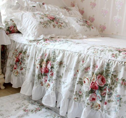 Shabby Chic ~ Simple ruffled bed cover with a built-in bed skirt.