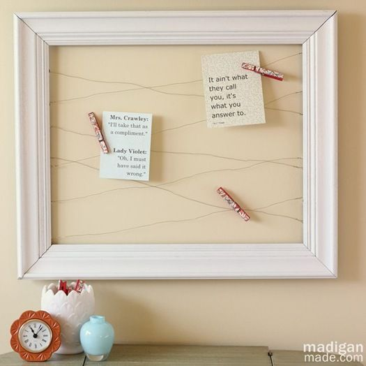Cool for changing out quotes - Open Frame and Wire Memo Board ~ Madigan Made { simple DIY ideas }