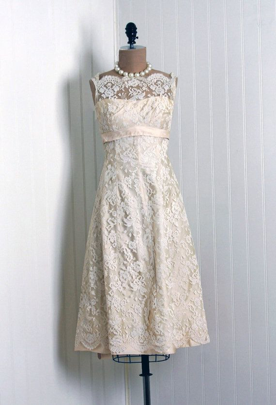 1950's vintage Saks Fifth Ave white chantilly-lace & beige silk-satin dress. I live for pieces like this!