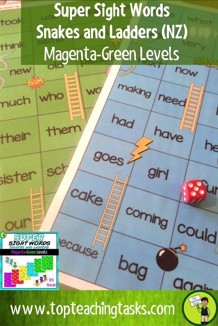 This New Zealand Sight Words superhero-themed pack includes six Sight Word Snakes and Ladders Game Boards to cover the New Zealand Sight Word Levels: Magenta, Red, Yellow, Blue and Green (NZ). Build sight word fluency and help with reading comprehension.Your students can play this game for homework, during guided reading lessons, as a literacy circle activity or as an early finisher activity.