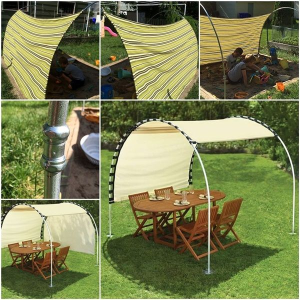What a brilliant idea! This adjustable DIY outdoor canopy allows you to move the shelter along the metal arches so that you can always stay in the shade.