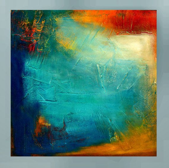 """Original Abstract Textured Modern Painting by Jagoda Lane - """"Reaching Out"""" - 20""""x20"""""""