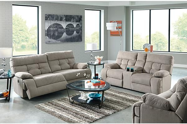 The overly reclining sofa from ashley furniture homestore the overly smoke - Living room furniture your comfort is a priority ...