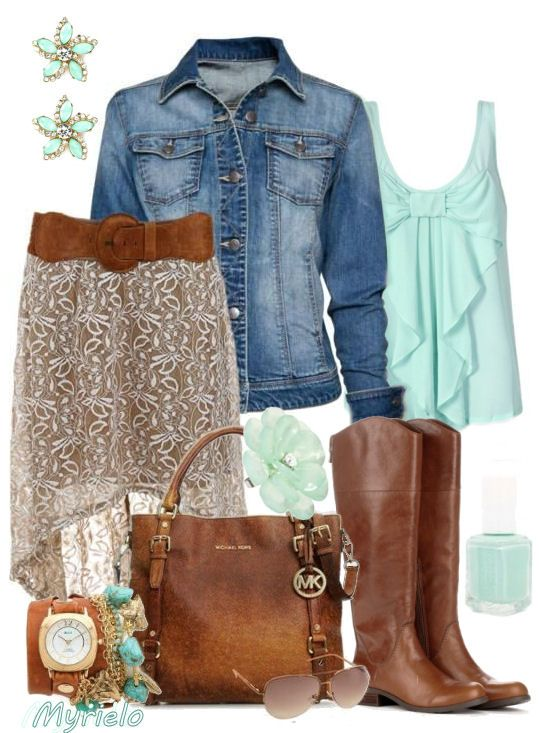 Mint Bow Tank, Riding Boots & Denim ♡