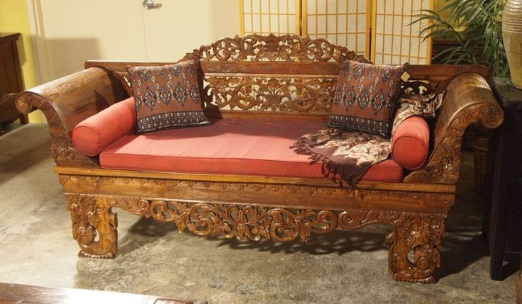 Carved Indonesian Sofa Style Teak Bench Gado Gado Gado