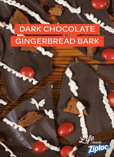 Sweet, spicy, and tastes just like a gingerbread house (without all the work)! This easy bark only looks complicated. Just pour melted dark chocolate onto a parchment paper-lined baking sheet. Top with crumbled gingerbread cookies, spicy red candy, and a white chocolate drizzle, then chill for 20 minutes. Break it up into small pieces and pack in a Ziploc® holiday container for the perfect hostess gift.
