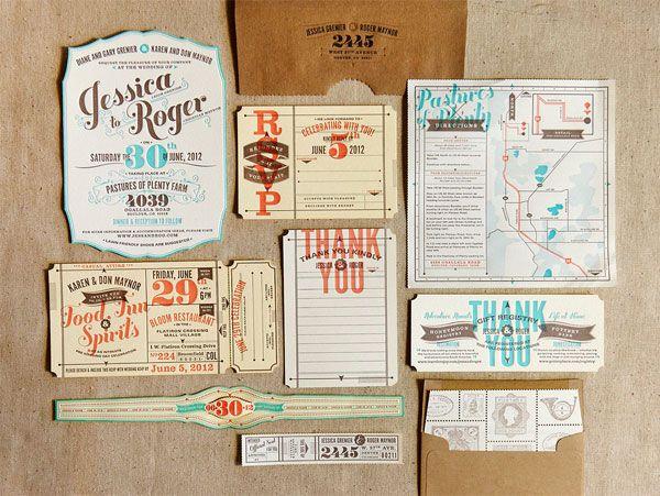 Vintage Travel-Inspired Wedding Invitations