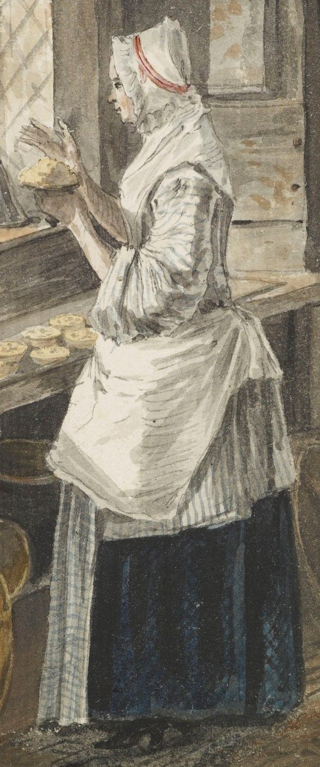 "detail of ""The Kitchen at Sandpit Gate"" (Windsor, England) by Paul Sandby, circa 1752. A watercolour drawing of a maid standing at a window in a domestic interior, making pats of butter at a table, surrounded by dairy equipment. Her bedgown (jacket) is white with blue stripes, her apron is white with blue lines forming squares, and her petticoat (skirt) is dark blue with black lines forming a diagonal latticework. Her white ruffled cap is tied with a pink ribbon."