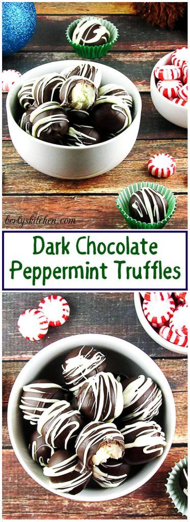 These Dark Chocolate Peppermint Truffles are a delicious guilty pleasure. #darkchocolate #truffles #peppermint #Christmas via @berlyskitchen