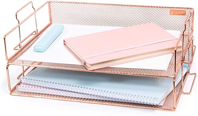 Amazon Com Rosework Rose Gold 2 Tier Letter Tray Rose Gold Desk Organizer For Women Stackable Paper Tray Organi In 2020 Gold Office Decor Gold Desk Tray Organization