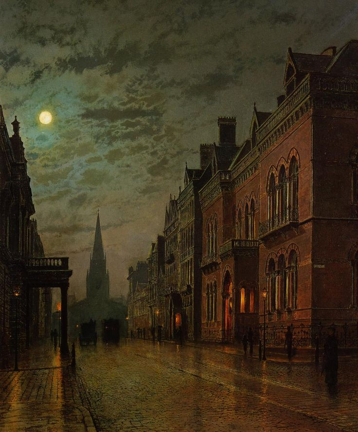 Park Row by John Atkinson Grimshaw- one of my favorite artists. A Victorian era artist known for his night landscapes. I love the beauty of the moon!!