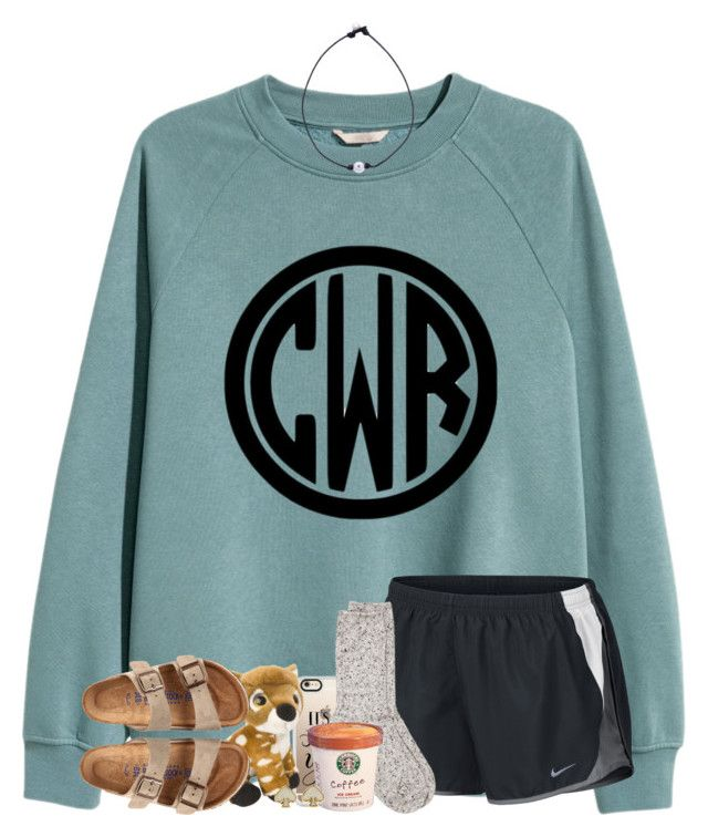 """happy fall y'all!!"" by jeh-shev ❤ liked on Polyvore featuring H&M, NIKE, Casetify, Birkenstock, River Island and Kate Spade"