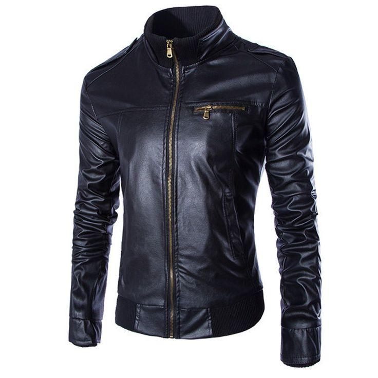 Hot Sale Leather Jacket Men Jaqueta De Couro Masculina Korea Fashion Slim Fit PU Leather Jacket 3 Colors Black Brown Coffee
