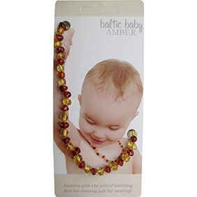 Amber has been worn for centuries as a natural remedy for pain relief and to promote fast healing and boost the immune system. Wearing amber in the form of necklace is a traditional European remedy for teething babies. These necklaces are not designed for babies to chew on, but rather the suggested pain relieving effects are gained through the wearing of the amber beads next to the skin.
