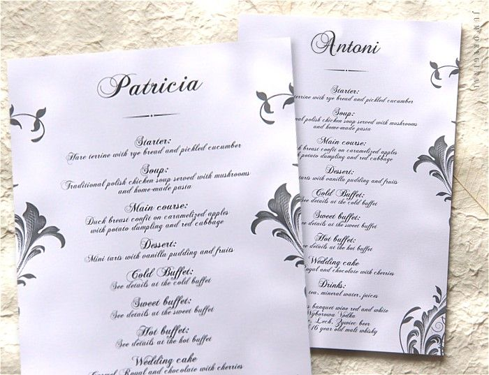 Karta Menu, która pełni również rolę winietki przez indywidualną personalizację. / Menu card which also acts as vignette/place card by individual personalization.