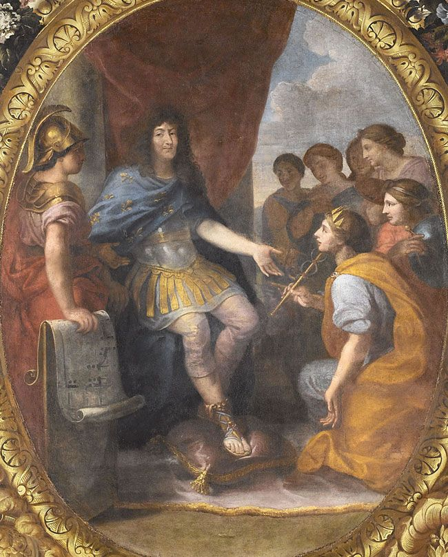 Protection accordée aux beaux-arts, 1663. Louis XIV est assis sur son trône et accueille l'Académie française (selon le Mercure galant) ou bien une allégorie de l'Éloquence (selon François Charpentier) ; d'autres Arts ou Académies sont représentés à l'arrière-plan. La date de 1663 est apparue seulement dans le troisième état de l'inscription, celui dû à Boileau et Racine.