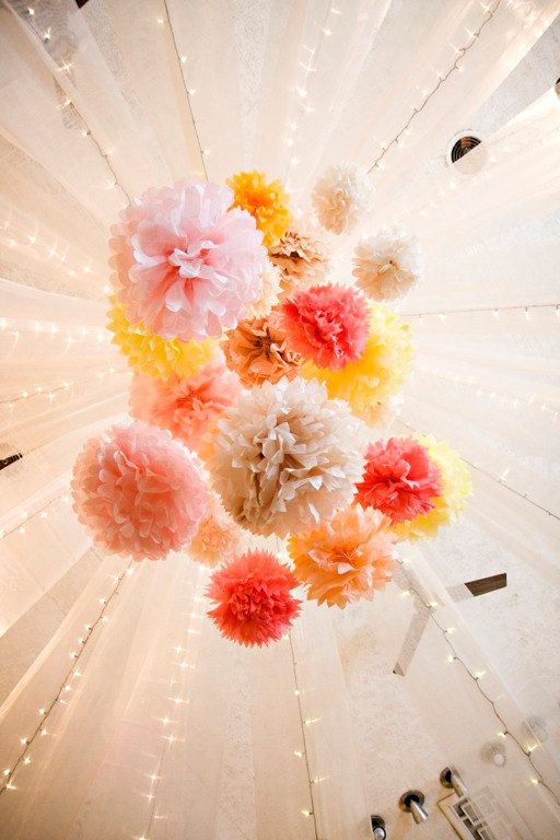 hanging tissue-paper pom-pom decor