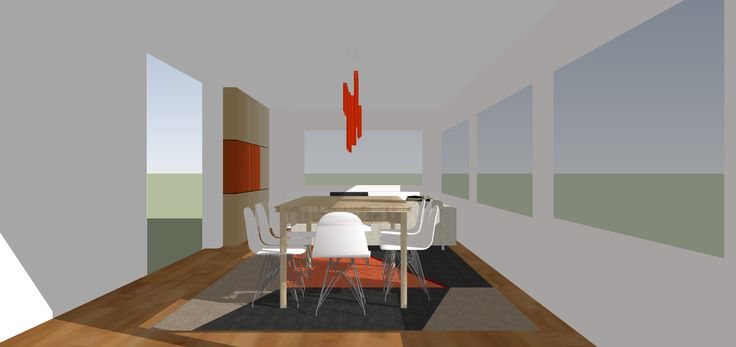 SketchUp working model dining and living space