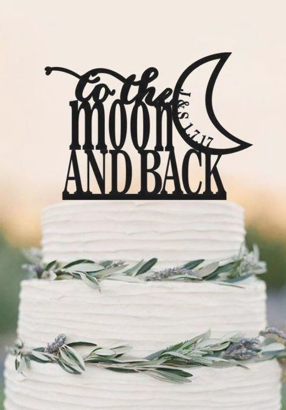 To The Moon And Back Wedding Cake Topper Romantic Wedding Cake Topper Dokkid Wedding Cake Topper Printable Cake Topper Wedding Romantic Romantic Wedding Cake