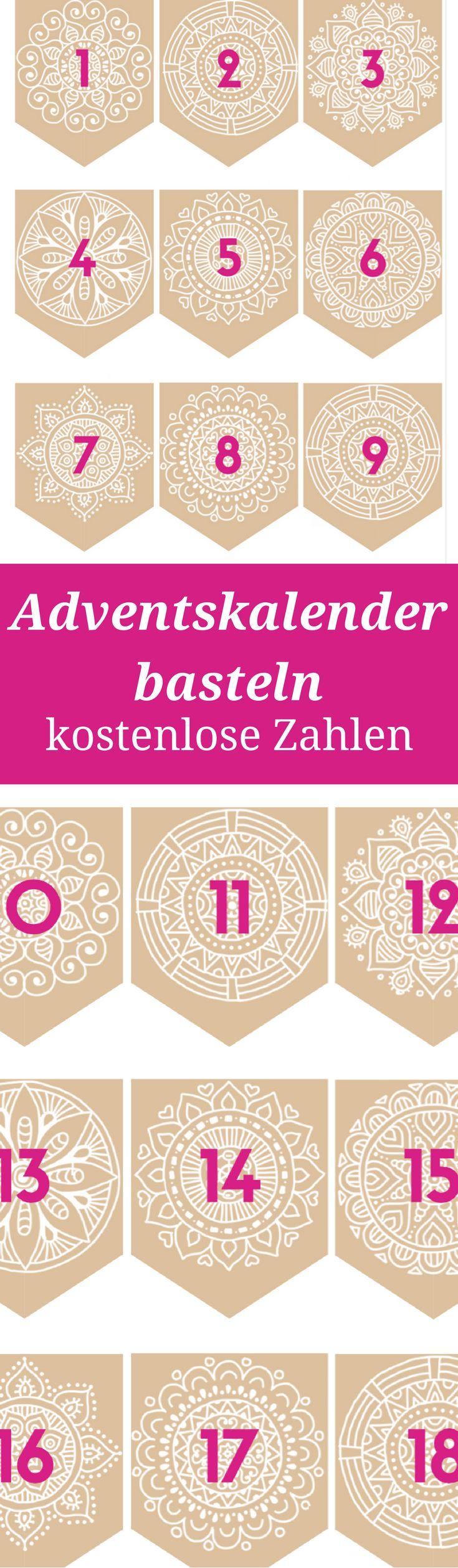 Adventskalender basteln - DIY Zahlen zum Ausdrucken als kostenlose Vorlage. Außerdem: Ideen für Adventskalenderinhalte OHNE Konsum, mit liebevollen Unternehmungen und Erlebnissen.