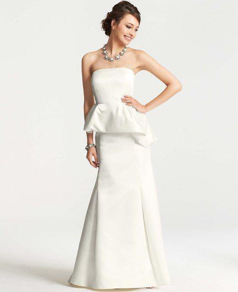 Duchess Satin Strapless Peplum Wedding Dress - Ann Taylor $650