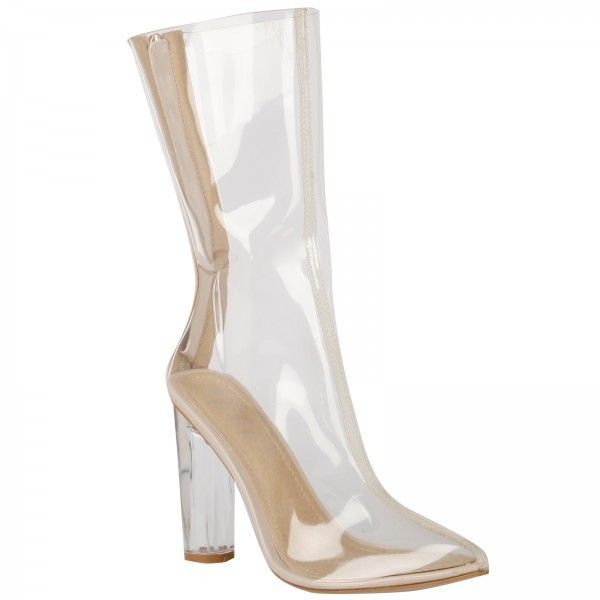 Tasha Clear Perspex Ankle Boots ($58) ❤ liked on Polyvore featuring shoes, boots and ankle booties