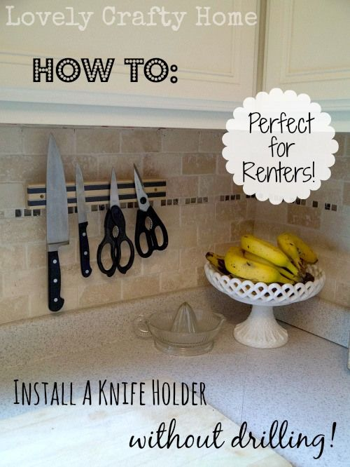 Installing a Knife Holder with 3M Command Strips: Duh moment! Would be great for renting