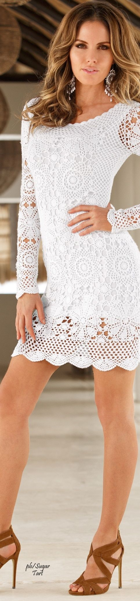 white crochet dress. handmade  women fashion outfit clothing style apparel @roressclothes closet ideas