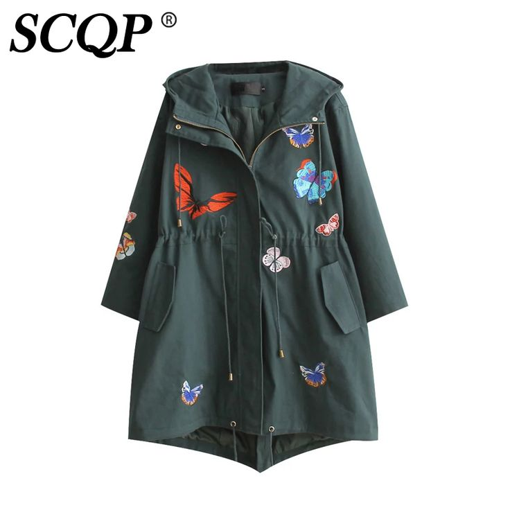 >> Click to Buy << SCQP Cartoon Butterfly Embroidered Jacket Rope Yellow Hoodies Long Sleeve Womens Jackets And Coats Autumn Lady Casual Coat Women #Affiliate