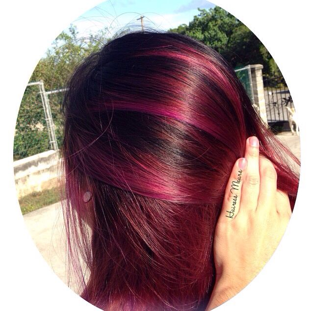 black roots with a red raspberry balayage igfb hairess mears