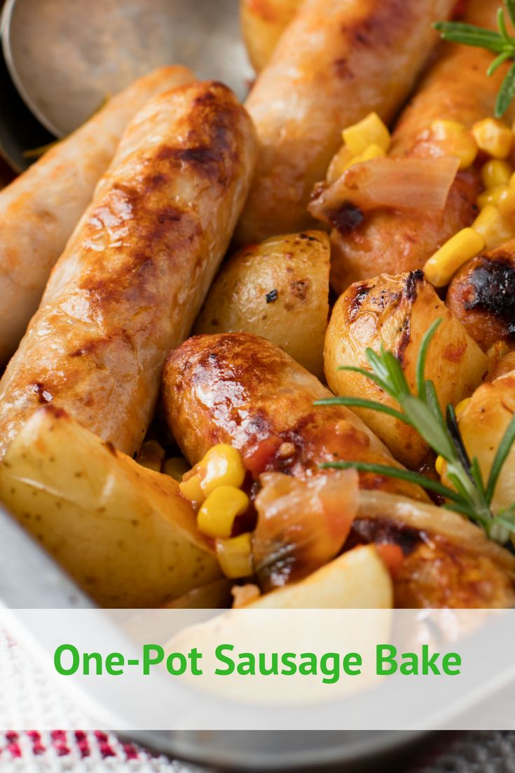 One pot easy family sausage dinner recipe. Thisquick & easythrow-together meal is rich in delicious pork sausages, quartered potatoes and colourful corn. One pot means no cleaning up afterwards.