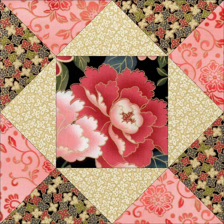 Gion Garden Black Pink Pre-Cut Quilt Block Kit