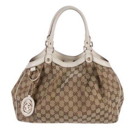 dab99304224c Gucci Sukey Medium Brown Beige Cream Canvas Leather Trim Tote - Tradesy