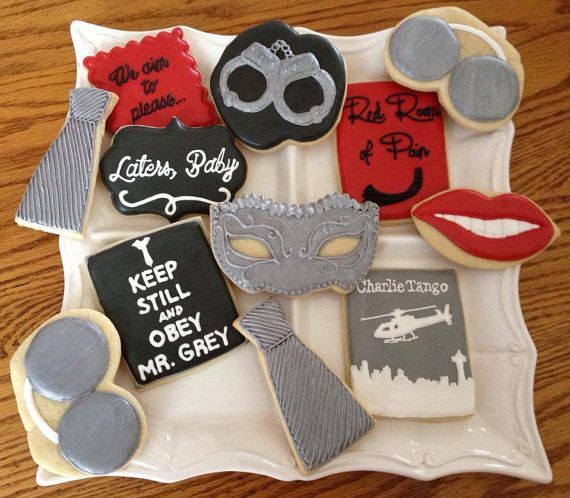 50 Shades of Grey - Bachelorette Party Cookie Favors  1 dozen  by LittleBirdiesCookies, $40.00
