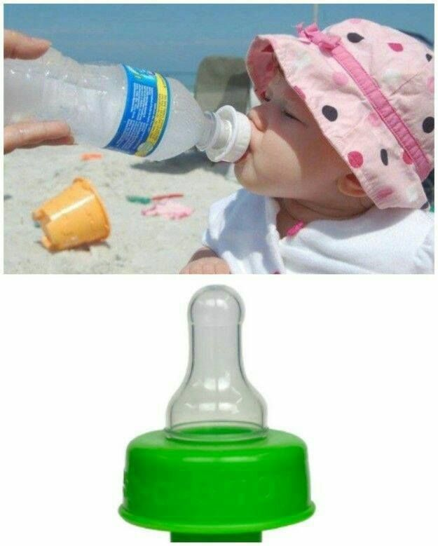 Refresh a Baby! This Bottle Adapter fits on any water bottle, great idea for traveling with baby! Find it here: http://amzn.to/2f5AvhC