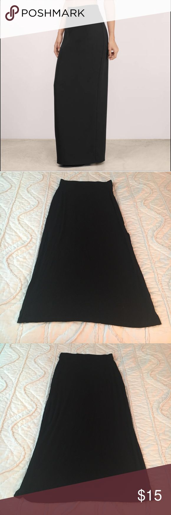 "Old Navy maxi skirt A size Small maxi skirt from Old Navy. Black skirt with banded waist. Total length measures approximately 36"" with two side slits measuring approximately 18"". Soft material! Used minimally - in great condition! (Cover photo used for inspirational purposes only). Old Navy Skirts Maxi"